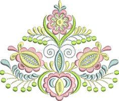 Ľudová výšivka Vajnory, 4 farby, ženy, rozmer 12x11 cm