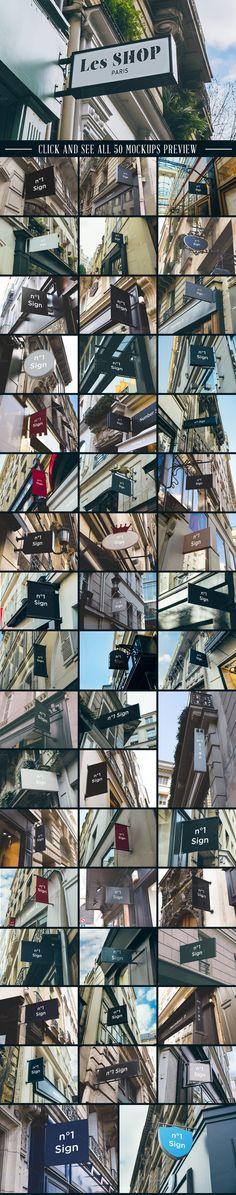 50 sign mockups_the retro design toolbox #fonts #mockups #textures #vectors #deals #bundle #design
