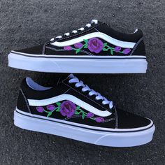 9c732bb3635e Floral vans embroidered vans vans rose vans custom rose