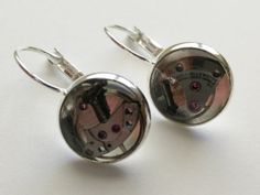 Club Steampunk  Cast Resin and Clockwork Earrings by saholtartist1