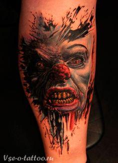 Татуировка-клоун-на-ноге