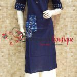 Designer Kurti 22 Fabric : Cotton. Color : Blue. Product Type :Designer Kurti. Product Details : Designer kurti ideal for everyday use or small get together. Designer long kurti in pocket style pattern.