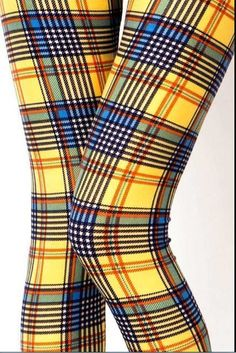 33c35778997e1 OS ONE SIZE YELLOW BLUE PLAID Leggings BUTTERY SOFT Fits Size 2-12 NWT