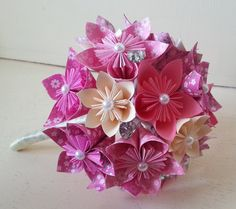 Paper Flower Origami Bouquet Wedding Crystals Custom Made All Colours