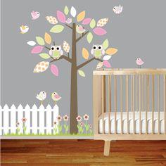 Nursery Vinyl Wall Decal Tree with Fence Owls Birds Flowers from wallartdesign etsy shop