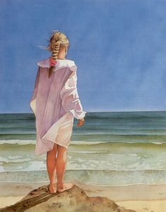 """""""Above it All"""" watercolor by Pomm Fine Art Also available as a mini-canvas in two sizes: Small: x Large: x Paintings I Love, Beautiful Paintings, Watercolor Portraits, Watercolor Paintings, Oil Paintings, Painting Gallery, Mini Canvas, Beach Art, Seaside Art"""