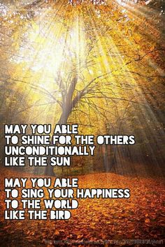 Morning blessing from me: May you able  to shine for the others  unconditionally  like the sun  May you able  to sing your happiness  to the world  like the bird
