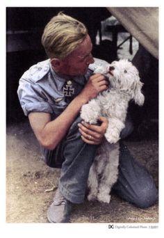 German WW II ace Erich Hartmann and dog.
