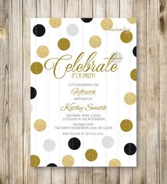 Gold Black Glitters Adult Birthday Party by LavenderArte on Etsy