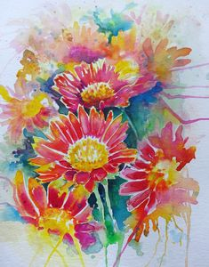 Watercolour painting of orange and yellow daisies in vibrant colours, contemporary painting by WatercoloursForSale on Etsy Oil Painting For Sale, Paintings For Sale, Oil Paintings, Watercolour Painting, Watercolours, Art Tutor, Yellow Daisies, Colorful Drawings, Contemporary Paintings