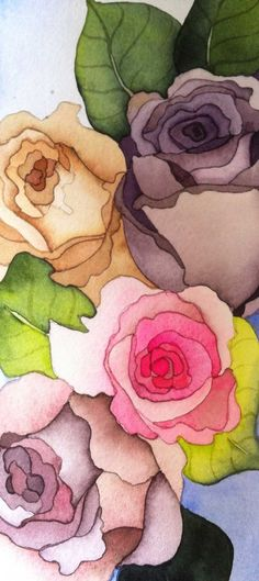 Paris Roses Original Watercolor by Jane Gillette