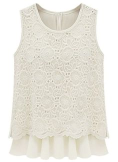 Beige Sleeveless Back Split Lace Chiffon Blouse - Sheinside.com Mobile Site - ladies grey blouse, white silk short sleeve blouse, bow tie womens blouse *sponsored https://www.pinterest.com/blouses_blouse/ https://www.pinterest.com/explore/blouse/ https://www.pinterest.com/blouses_blouse/saree-blouse/ https://americanrag.com/collections/blouses