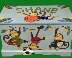 Custom Designed Monkey Team Safari Toy Box Hand Painted Hand Made Done With…