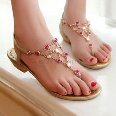 Colorful Beads Bohemian Buckle Strap Plus Size Sweet Shoes Sandals on buytrends.com