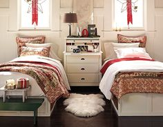 Modern Kids Room Design Ideas Show Well Expressed Teenage Bedroom Decor for Two - - Bedroom Themes, Kids Bedroom, Bedroom Decor, Bedroom Ideas, Kids Rooms, Small Rooms, Pottery Barn Christmas, Christmas Bedroom, Christmas Time