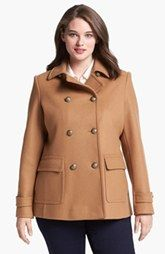 e35b82a5b9d8a Kristen Blake Skirt Back Peacoat (Plus Size) Pea Coats Women