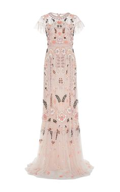 Beautifully feminine ❤️ https://www.modaoperandi.com/needle-thread-ss16/pink-floral-embroidered-tiered-maxi-dress