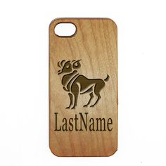Aries Engraved Wooden Custom Case Last Name Cover For iPhone 5 5s 6 6s 7 plus