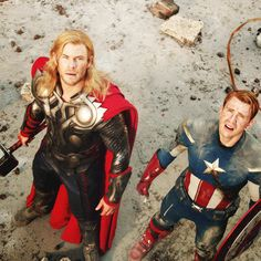 Thor and Captain America - Marvel Universe Avengers Fan Art, Avengers Quotes, Avengers Imagines, Avengers Cast, Avengers Movies, Marvel Characters, Marvel Avengers, Marvel Comics, Marvel Heroes