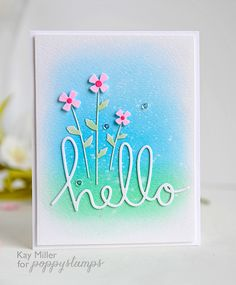 "Poppystamps Johnny Jump Ups die ""Hello"" tiny flower card"
