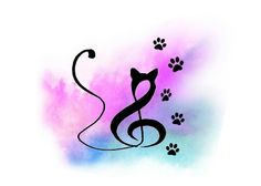 Possible watercolor tattoo... Cat/clef is not mine but found on DeviantArt and Pinterest