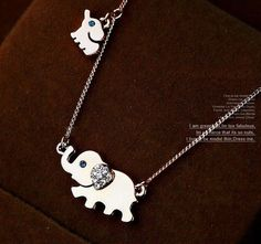 Elephant Family Necklace RACHEL -Mother's Day 2014, She collects Trunk-up Elephants