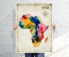 AFRICA map   Watercolor map  Art print  POSTER par BOX21 sur Etsy, $25.00
