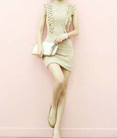 High Neck Embroidered Nude Lace Sheath Dress