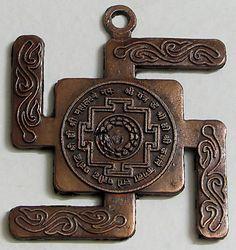Swastika (Auspicious Hindu Symbol) with Sreeyantra - Wall Hanging Occult Symbols, Spiritual Symbols, Sacred Symbols, Ancient Symbols, Hindu Symbole, India Culture, Life Symbol, Ancient Mysteries, Historical Art