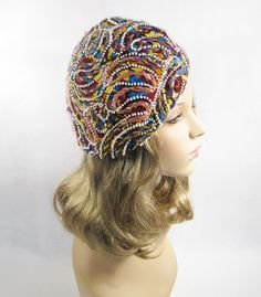 Vintage 1970s 70s Hat Paisley Multi Colored by alleycatsvintage, $40.00