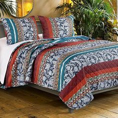 Full and Queen Size Cotton and Polyester Quilt Set with Mosaic Motifs, Multicolor, Set of Three, Black, Benzara Queen Size Quilt Sets, Twin Quilt Size, Most Comfortable Sheets, Orange Quilt, Quilted Pillow, Bed Styling, Fashion Room, Home Decor Accessories, Bedding Sets