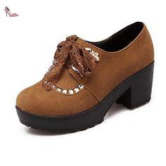 VogueZone009 Femme à Talon Correct Dépolissement Couleur Unie Lacet Rond Chaussures Légeres, Jaune, 34 - Chaussures voguezone009 (*Partner-Link)