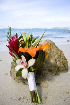 A simple, hand tied assortment of tropical flowers for your bouquet. Simple Bridesmaid Bouquets, Tropical Wedding Bouquets, Beach Wedding Flowers, Bride Bouquets, Wedding Beach, Tropical Flowers, Trendy Wedding, Wedding Ideas, Flower Bouquets