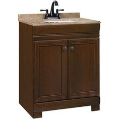 $199 from Lowes - Style Selections 24-1/2-in Cognac Weston Bath Vanity with Top if you decide to change out the entire cabinet. You would just have to make sure it covers the space from the old or that the tile continues behind the old vanity.