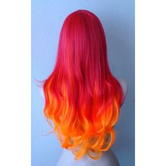 Red Orange hair Ombre wig. Long hair Long bangs Durable Heat resistant... (125 AUD) ❤ liked on Polyvore featuring beauty products, haircare, hair styling tools, hair, wigs, hairstyles, makeup и curly hair care