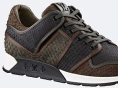 Louis Vuitton Python Skin Sneakers: As running shoes continue to make the rounds amongst the fashion set, luxury fashion labels are Lv Shoes, Me Too Shoes, Shoe Boots, Shoes Sneakers, Gq, Sports Footwear, Men's Footwear, Louis Vuitton Sneakers, Luxury Shoes