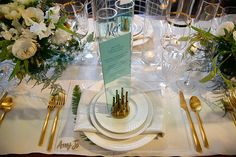 The Cream Event Los Angeles, Gather Events, gold silverware, ferns, plexiglass