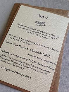 Storybook Wedding Invitations- would want less rustic though, and acts rather than chapters