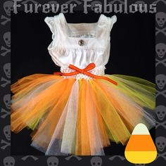 Candycorn tutu dress for dogs by Furever Fabulous! Happy Halloween! Like us on facebook! Follow us on Instagram @fureverfabulous