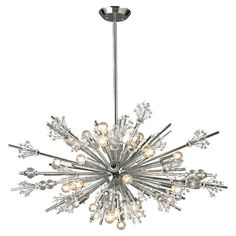 Add an industrial-chic touch to your breakfast nook or foyer with this eye-catching chandelier, featuring a starburst silhouette and 24 lights.