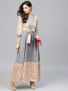 ee161e7df6f Shop Nayo Women Grey   Off-White Printed Maxi Dress from Shoprapy !