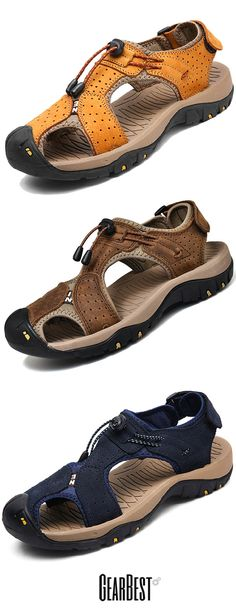 7ae3287efdbc26 Men Trendy Anti-slip Adjustable Leather Sandals. Water Resistant ShoesMen s  ...