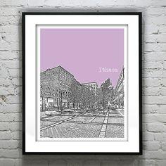 Ithaca New York Poster Print Art Skyline  NY by AnInspiredImage, $18.95