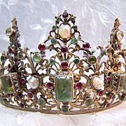 Period Georgian Tiara ~ Silver Pearls Emeralds Beryls Rubies