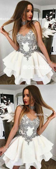 Applique Short Homecoming Dresses Sleeveless Prom Dresses,HS880  #promdresses #eveningdresses #2018prom