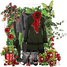 """red and green"" by ntina36 on Polyvore"