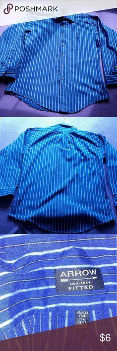 Men's arrow Shirt Men's Arrow blue shirt. White and Black stripes. Arrow Shirts Casual Button Down Shirts