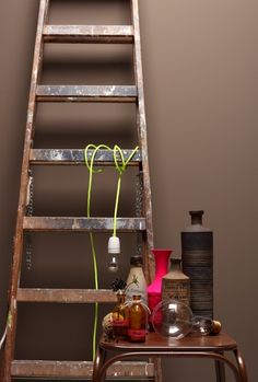 chocolate brown combined with neon colours Decor, House Styles, Wall Colors, Beautiful Living, Home Accents, Colour Architecture, Interior Styling, Ladder Decor, Brown Walls