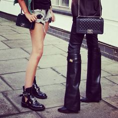 Givenchy boots + Chanel boy bag