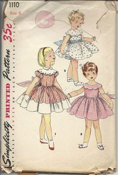 Simplicity 1110 1950s Pattern Girls Dress One Piece Dress 1950s 50s Size 6